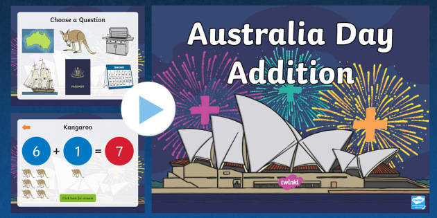 Australia Day Themed Addition to 10 PowerPoint - australia, add