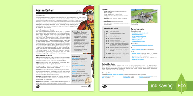 Roman Britain History Fact Sheet for Adults - roman, britain, history, fact sheet