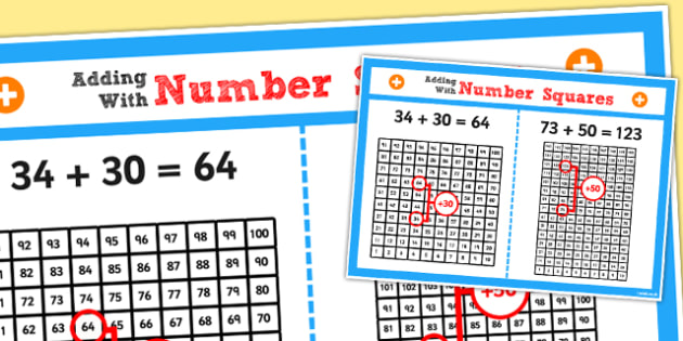 Year 2 Adding 2 Digit Numbers and Tens Using Number Square Poster