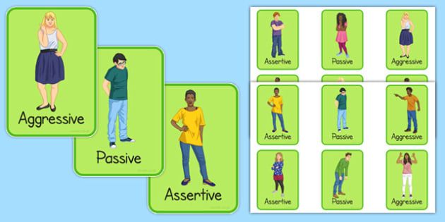 KS3 Assertive Passive Aggressive Picture Cards - SEN, support, behaviour, relationships, secondary, activity, PSHE, emotions, caring, understanding, conflict, resolution
