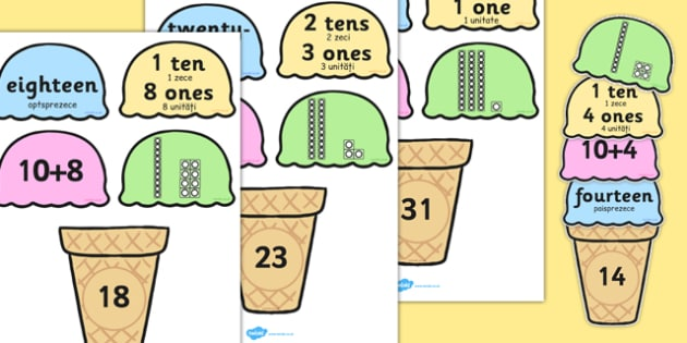 Place Value Ice Cream Cone Matching Activity Tens and Ones Romanian Translation - romanian, place value
