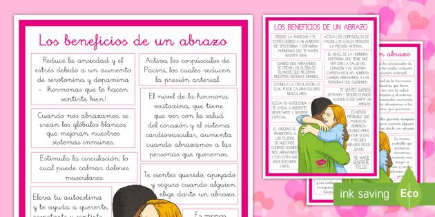 Póster DIN A4 Los beneficios de un abrazo - San Valentín, amor, abrazo, amistad, relaciones, amigos,Spanish