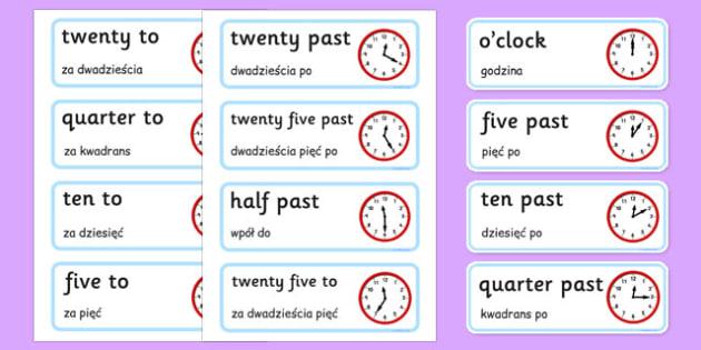 Time Word Cards Polish Translation - polish, Time, Display, Word card, flashcard, Clock, O Clock, Quarter To Quarter Past, Hour, Minute, Half Past, Analogue, digital, hands, face