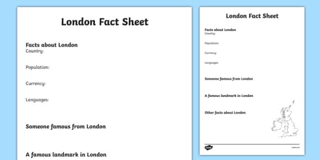 London Factsheet Writing Template - london, london fact sheet, london fact file, london worksheet, facts about london, british capital, capital cities, ks2