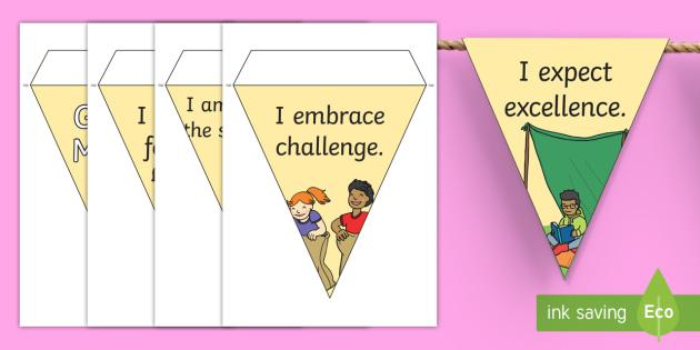 Growth Mindset Statement Display Bunting - Classroom, Motivational, Carol Dweck, positive language,display