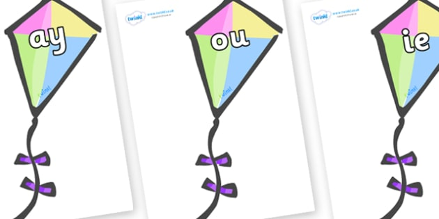 Phase 5 Phonemes on Kites - Phonemes, phoneme, Phase 5, Phase five, Foundation, Literacy, Letters and Sounds, DfES, display
