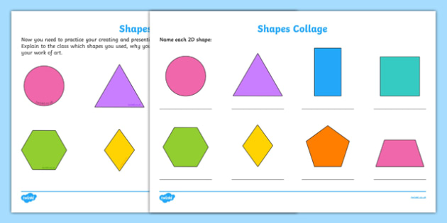 Shapes Collage Activity Sheet, worksheet