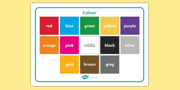 Colour Word Mat