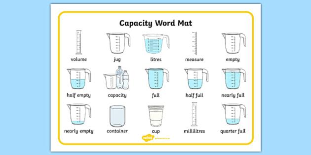 Capacity Word Mat - capacity, measure, maths, numeracy, word mats, Capacity, volume, measure, litre, cup