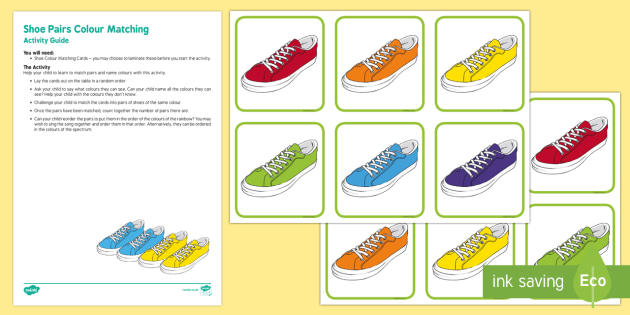 Shoe Pairs Colour Matching Busy Bag Resource Pack for Parents - The Elves and the Shoemaker, traditional tales, Christmas, colour, pairs, rainbow, spectrum, matchin