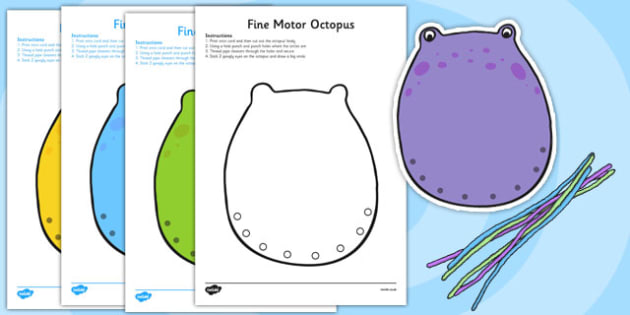Fine Motor Octopus Worksheet - fine motor, fine motor sheet, fine motor worksheet, octopus worksheets, octopus themed, fine motor skills sheet