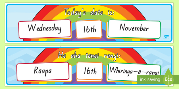 Today's Day and Date Display Pack English/Te Reo Maori - calendar, Maori, Te Reo, Date, day, classroom calendar, display
