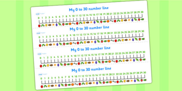 Number Lines 0-30 to Support Teaching on The Very Hungry Caterpillar - number lines