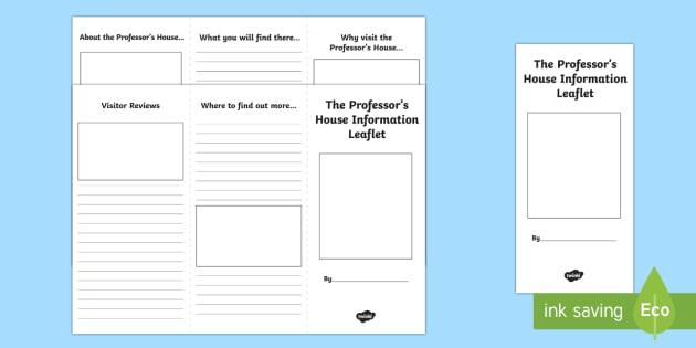 The Professor's House Leaflet Writing Template-Scottish - CfE, Narnia, leaflet, writing, literacy, information, persuasive,Scottish