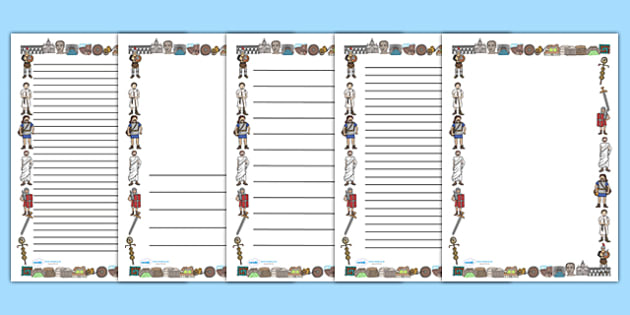 Ancient Romans Page Borders (A4) - Romans, Rome, Roman Empire, page border, border, writing template, writing aid, writing aid, colosseum, pantheon, Julius Caesar, emperor, gladiator, amphitheatre