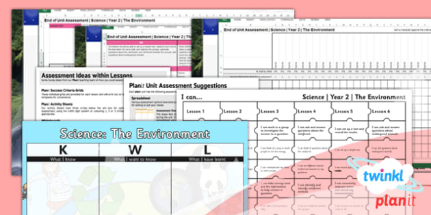 PlanIt - Science Year 2 - The Environment Assessment Pack - planit, science, environment