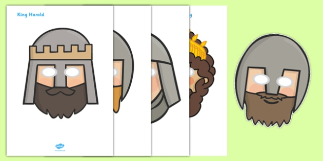 The Battle of Hastings Role Play Masks - The Battle of Hastings, English, Normans, battle, role play mask, role play, masks, Saxons, Harold, William, sword, archer, retreat, cavalry, arrow, eye