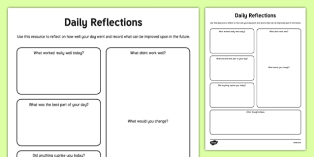 Daily Reflections Activity
