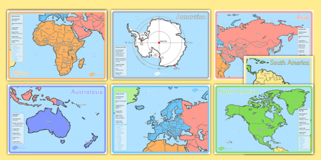 KS1 Geography Continents of the World Fact File Display Posters - ks1, geography, continents of the world, fact file, display posters