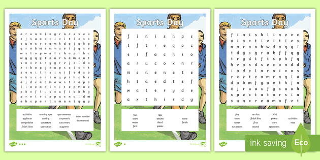 Sports Day Word Search - sports day, wordsearch, sports, day