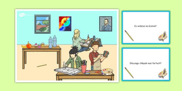 Karty z pytaniami Lekcja plastyki po polsku - sztuka