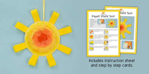 Paper Plate Sun Craft Instructions - sunshine craft, craft, instructions, sun