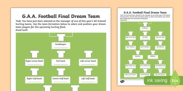 G.A.A. Football Final Dream Team Activity Sheet-Irish, worksheet