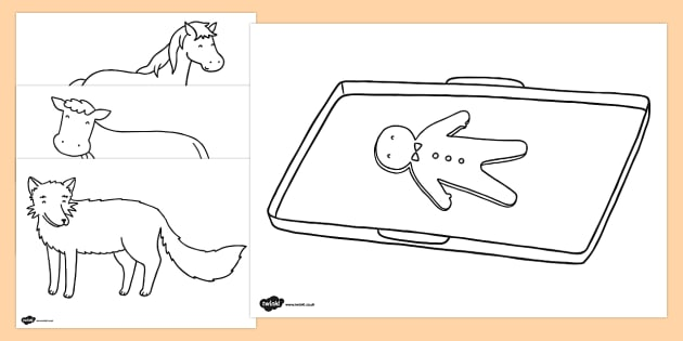 The Gingerbread Man Colouring Sheets colouring gingerbread