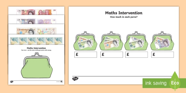 Maths Intervention Purse Notes - SEN, special needs, maths, money, counting money, recognising money, adding money, coins, notes