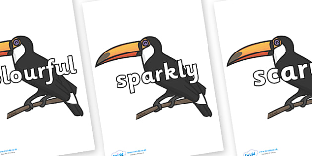 Wow Words on Toucans - Wow words, adjectives, VCOP, describing, Wow, display, poster, wow display, tasty, scary, ugly, beautiful, colourful sharp, bouncy
