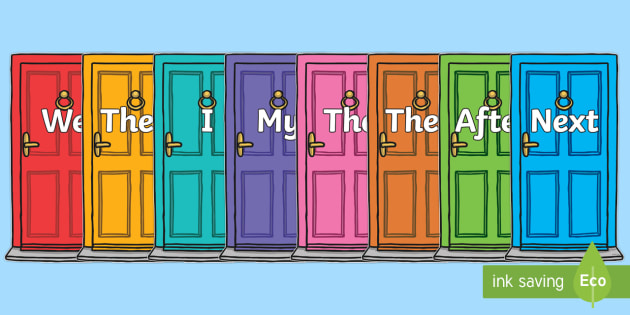 Sentence Openers on Doors - Sentence starter, writing sentences, vocabulary, writing aid, how to start a sentence, the, next, there