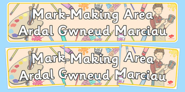 Mark Making Area Display Banner Welsh Translation - welsh, cymraeg, Foundation Phase, Display Banner, Mark-making, Emergent writing