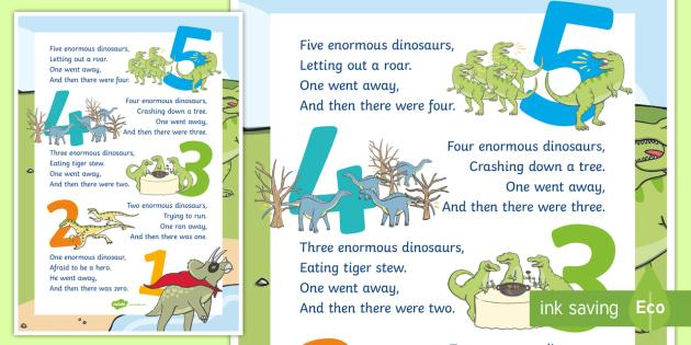 Dinosaurs Mathematics Counting A2 Display Poster - Mathematics, Rhyming Songs, song, rhyme, counting, dinosaurs, mathematics, counting back, numbers to