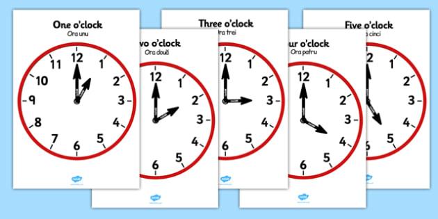 Hourly Clocks Romanian Translation - EAL, translated, bilingual,  time, analogue, clock, hour, o'clock