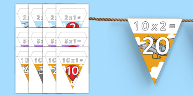 Transport Themed Times Table Bunting Pack - transport, bunting, display, times table, pack