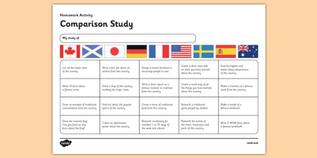 Comparison Study Homework Grid - CfE, second level, comparison study, homework grid