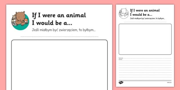 If I Were an Animal I Would Be Transition Writing Frame Polish Translation - polish