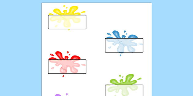 Editable Self Registration Labels (Splats) - Splat, splats, Self registration, register, editable, labels, registration, child name label, printable labels, colour, plaint, splat, splatter