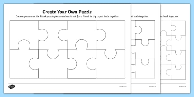 Create Your Own Puzzle Activity Sheet, worksheet