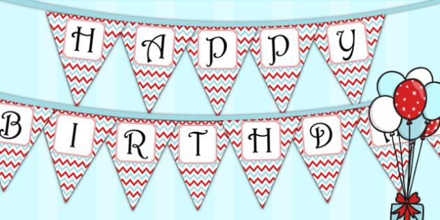 Zig Zag Birthday Party Happy Birthday Bunting Red And Blue