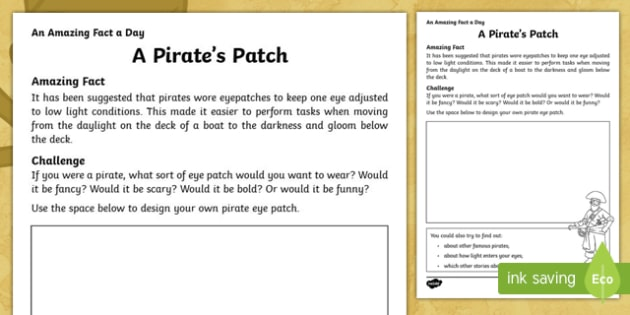 A Pirate's Patch Activity Sheet