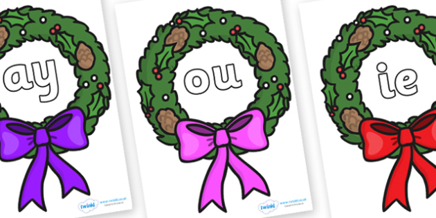 Phase 5 Phonemes on Christmas Wreaths - Phonemes, phoneme, Phase 5, Phase five, Foundation, Literacy, Letters and Sounds, DfES, display