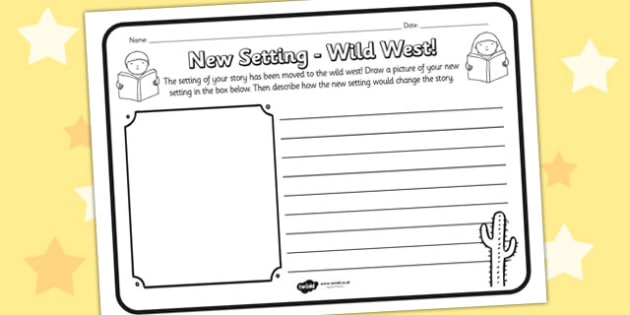 New Setting Wild West Comprehension Worksheet - new setting, wild west, comprehension, comprehension worksheet, character, discussion prompt, reading