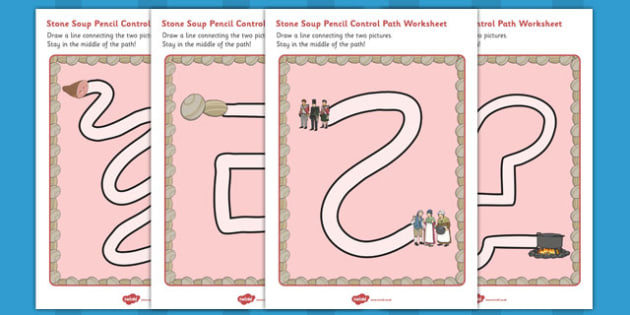 Stone Soup Pencil Control Path Worksheets - stone soup, pencil