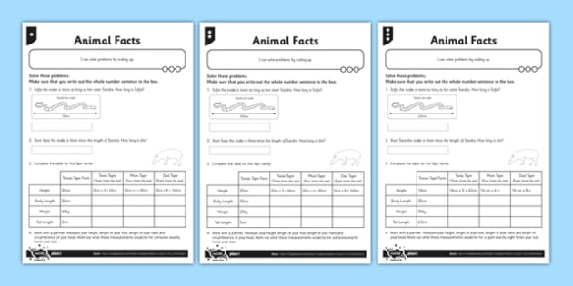 Differentiated Animal Scaling Problems Activity Sheet Pack - problem solving, maths, scaling, twice as big, three times as big, multiplying, differentiated activity, worksheet