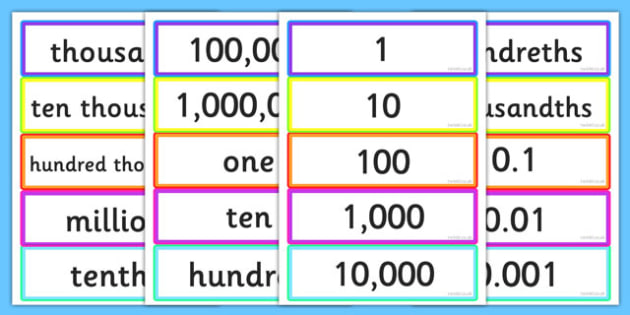 Place Value Matching Cards - place value, place value matching game, place value matching activity, place value cards, ks2 numeracy matching activity