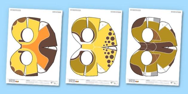 Enkl Safari Animal Masks Printable - enkl, safari animal, safari, animal, masks, printable, craft, model, paper