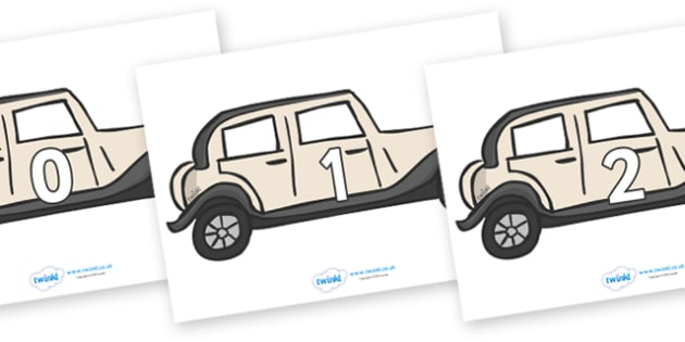 Numbers 0-50 on Wedding Cars - 0-50, foundation stage numeracy, Number recognition, Number flashcards, counting, number frieze, Display numbers, number posters
