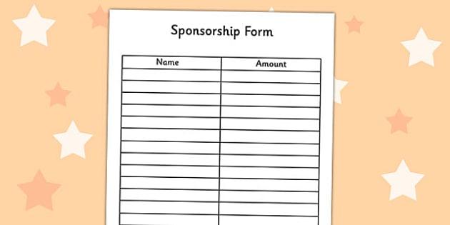 Sponsorship Forms Templates Resume Templates – Sponsorship Form Template