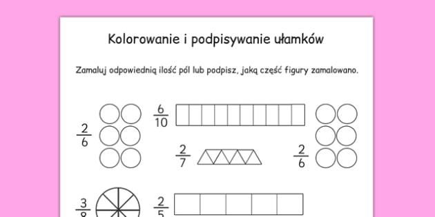 Pokoloruj lub podpisz Ułamki po polsku - matematyka